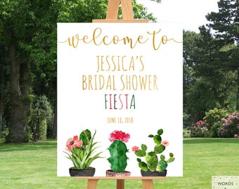 Bridal Shower Fiesta Decorations, Welcome Sign, Cactus Bridal Shower Decor, Bridal Shower Banner, Bridal Shower Printables, Ideas, Succulent