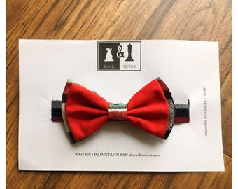 mens red & tartan cotton bow tie