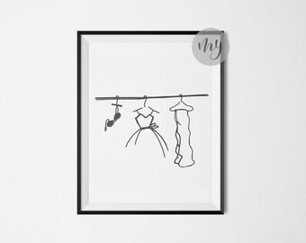 Fashion Sketch Print, Fashion Wall Art, Minimalist Poster, Line Drawing Print, Fashion Illustration Print, Printable Wall Art