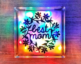 Mothers Day Gift, Personalized Decor, Flower Gift, Best Mom, Lighted Glass Block, Personalized Mom, Personalized Gift, Flower Design