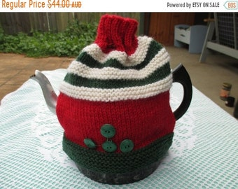 ON SALE Christmas Tea Cosy - Hand Knitted