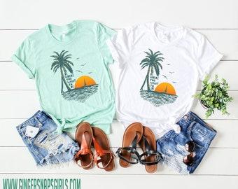Be Where You Want to Be Beach, Palm Tree, Sunset, Sailing Boho triblend short sleeve womens t-shirt, Southern boho ladies Shirt