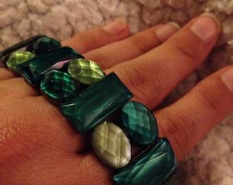 Handmade multi shades of green bracelet