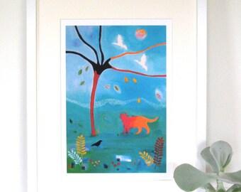 Cat print, Acrylic painting, Autumn Days, Giclee Print, nursery art