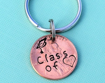 Class of 2018 graduation penny keychain   graduation gift   2018 graduation present   graduation cap keychain   graduation gifts for guys