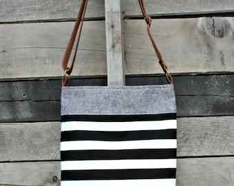Crossbody Bag, Leather Crossbody Bag, Handbag, Purse, Shoulder Bag, Black and White Stripes, Denim, Neutral, Women's