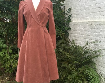 Ultra Suede {Mollie Parnis} Rusted Rose Long Sleeve Wrap Dress/Coat, Size 8/10