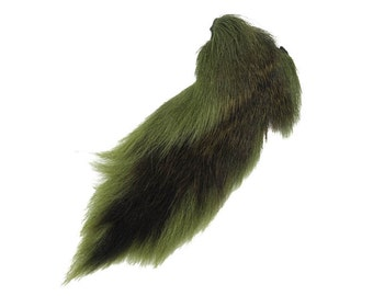 1 (one) dyed Deer Tail: Light Olive Green (148-060) L10