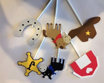 12 cowboy cupcake toppers