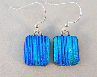 Small Blue Dichroic Glass Dangle Earrings, Fused Glass, Fused Glass Earrings, Glass Earrings, Dichroic Earrings, Dangle Earrings, Dichroic