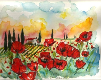 "ART Painting ""9.50 x ""12.50 Original Watercolor Italian Landscape ""TUSCANY"" Italy Italian Landscape & Scenic Made to Order"