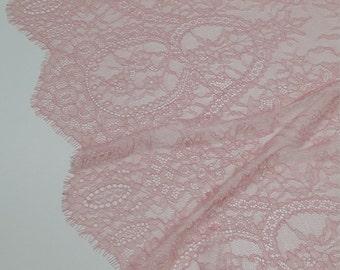 Salmon pink lace fabric yard, France Lace, Alencon Lace, Bridal lace, Wedding Lace Embroidery lace Evening dress lace Lingerie Lace J787801