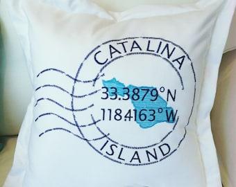CatalinaLatitude and Longitude Pillow