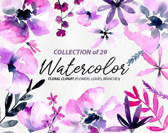 Watercolor flower clipart 29 purple violet pink flowers watercolor flower clipart 29 purple violet pink flowers aquarelle digital clip art free commercial use floral watercolour png set from mightylinksfo