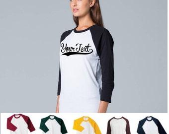 Custom made, your text here, custom shirt,raglan,logo,birthday,family