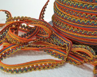 5yds Elastic Lace Trim Picot Edging Rick Rack 1/2 inch Single Side Multi color Orange Yellow Blue Elastic By The Yard