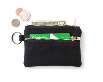 Keychain Wallet Canvas Coin Purse Double Zipper Pouch Black