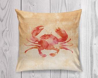 Crab Pillow, Crab Cushion, Crab Throw Pillow, Coastal Decor, Beach House Decor, Sealife Pillow, Crab Pillow Case, Crab Pillow Cover, Nursery