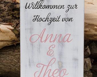Welcome Wooden sign Wedding 30cm x 60cm