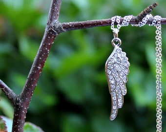 Angel Wing Pendant Necklace.Sterling Silver Chain.Swarovski Crystal.Bridal.Religious.Spiritual.Confirmation.Valentine.Layer.Gift.Handmade.