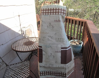 Full Apron, repurposed manufacturers sample of Kitchen curtain of unknown fabric, Reversable, featuring 2 pockets on each side