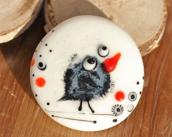 Black bird glass cabochon Handmade lampwork glass cabochon Crow cab Craft Supplies Jewelry Supply Jewellery Making for Pendant for Brooch