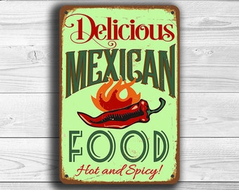 MEXICAN FOOD SIGN, Mexican Food signs, Vintage style Mexican Food Sign, Mexican Food, Mexican Restaurant, Mexican Decor, Restaurant Decor
