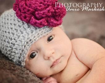 baby hat, baby girl hat, infant girl hat, newsboy flower hat, photo prop