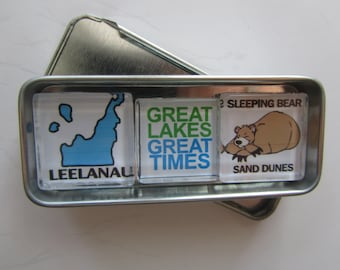 LEELANAU, Michigan, M109, Manitou Islands, Up North Michigan, Michigan Magnets Set, Northwest Michigan, Traverse City, Sleeping Bear