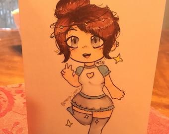 Chibi Space Girl Blank Cards