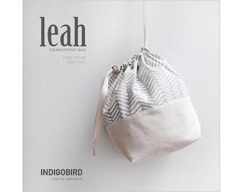 PATRON, Sac à tricot, Pochon, sac à coulisse, sac à projet, patron de couture, patron PDF, tuto de couture, Leah Drawstring Bag