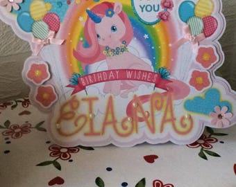 Unicorn birthday card, unicorn party, large birthday card, unicorn card, daughter birthday card, 1st, 5th, 3rd, 2nd, fairytale