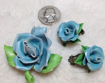 Blue Rose Brooch and Clip Earring Set