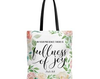 Bible Verse Tote Bag / Scripture Tote Bag / Bible Study Tote / Joy Of The Lord Tote / Christian Gift / Women / Bible Verse Bag / Church Bag