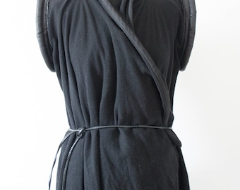Handmade dramatic dark black goth minimal loose wrapped sleeveless cardigan in fleece fabric and leather size S to L