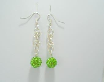 Green Earrings, Chainmail Earrings, Green Dangle Earrings, Green Crystal Earrings, Green Beaded Earrings, Green Long Earrings