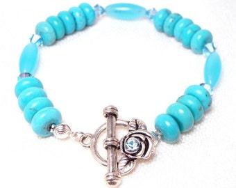Turquoise Aquamarine Bracelet with Aqua Swarovski Crystals