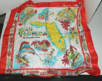 "33""x35""Huge Red Pre-Disney Vtg Silk Colorful Scarf/Tablecloth FL Souvenir NOS"