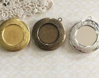 6 pcs of brass locket 32mm for 20mm cameo bl3008-silver/ANTIQEU BRONZE/raw brass