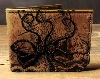 leather wallet - mens wallet - octopus attacks wallet - 001