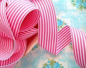 Striped Grosgrain Ribbon -  Pink and White - 1 1/2 inch - 1 Yard