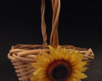 Sunflower flower girl basket. Flower girl basket. Rustic flower girl basket.