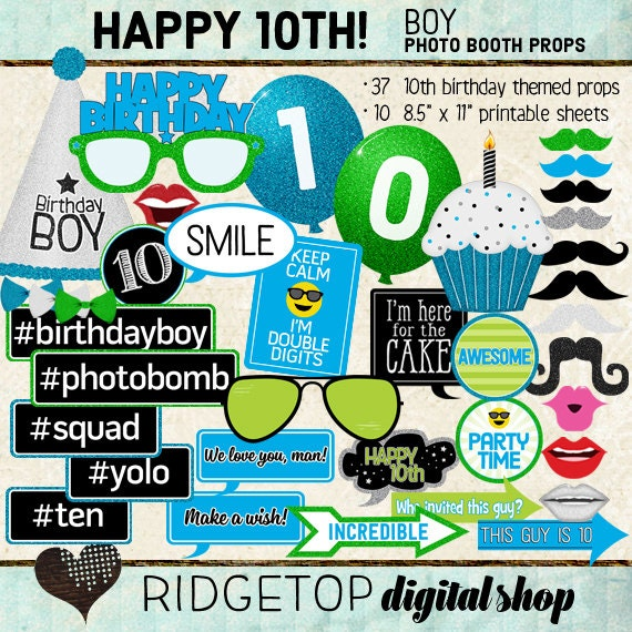 Photo Booth Props HAPPY 10TH BIRTHDAY Boy Printable Sheets