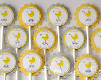 Yellow and Gray Baby Carriage Shower Cupcake Toppers Personalized Cupcake picks Set of 12 Gender Neutral