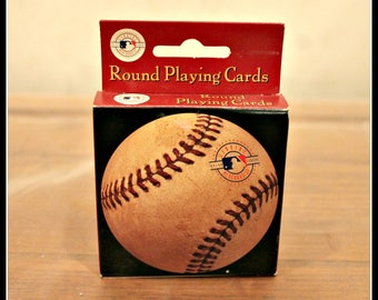Vintage Deck of Round Baseball Playing Cards, Poker Night Playing Cards, Nostalgic Baseball Photo Playing Cards, Man Cave, Gift For Him