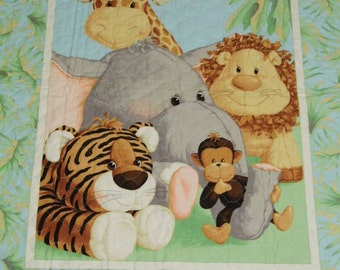 Jungle Babies Baby Quilt with Green Binding