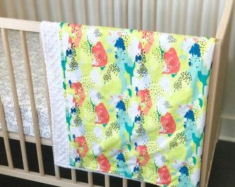 Crib Blanket Citrus Abstract - Crib Blanket - Baby Blanket - Minky Blanket - Watercolor Baby Blanket - Watercolor Crib Bedding -lime Blanket