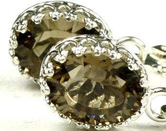 Smoky Quartz, 925 Sterling Silver Crown Bezel Leverback Earrings, SE109