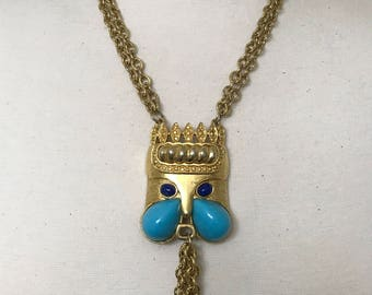 Vintage Rare Carlyle Necklace Egyptian Revival Bunny Turquoise & Lapis Cabochons