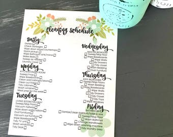 Cleaning Schedule, DAILY, WEEKLY, large family, printable